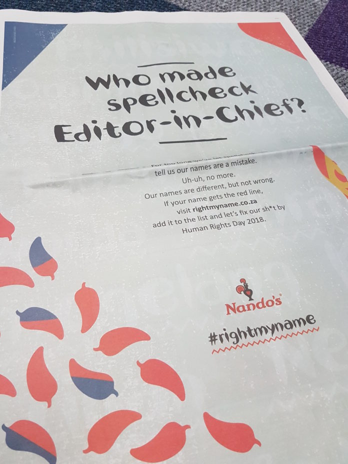 The MediaShop And M&C Saatchi Abel's Nandos #rightmyname Campaign Scoops Gold At The 2018 Loeries
